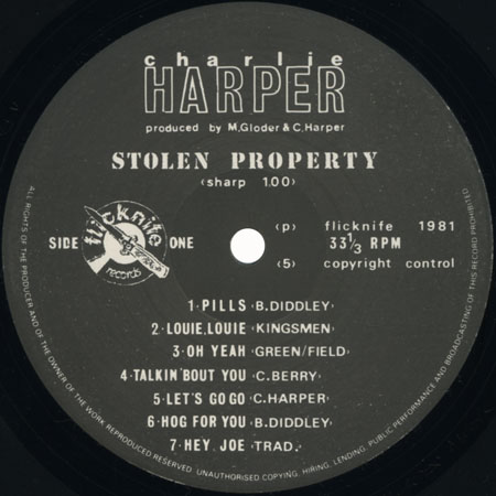charlie harper lp stolen property label 1