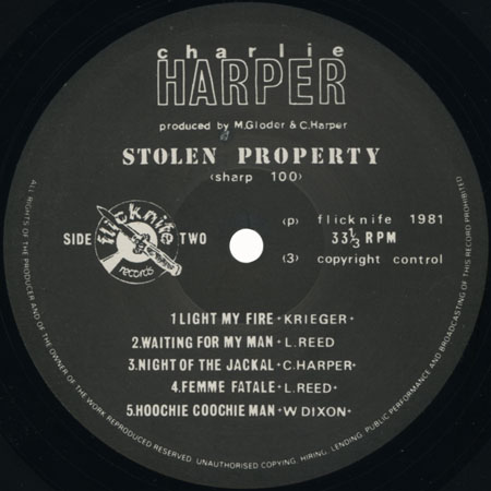 charlie harper lp stolen property label 2