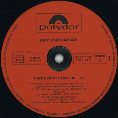 roy buchanan lp that's what i am here for france label 1