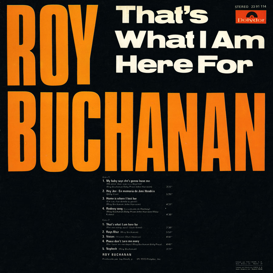 roy buchanan lp that's what i am here for spain back