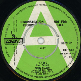 sandy nelson single side hey joe green label