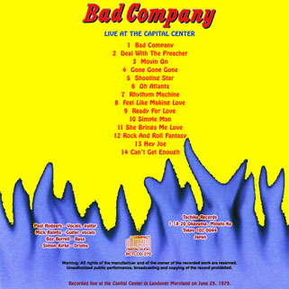 bad company live at the capital center back cover