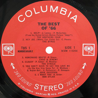 byrds lp the best of 66 label 1