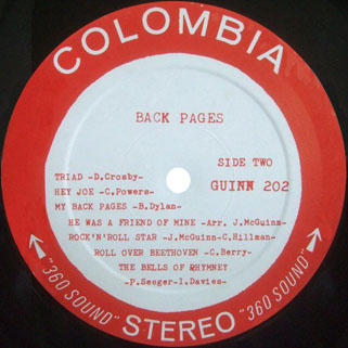 byrds lp columbia back pages label 2