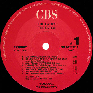 byrds lp cbs the byrds spain label 1
