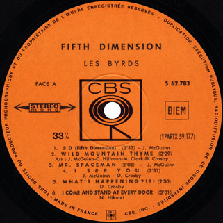 byrds lp fifth dimension cbs france label 1