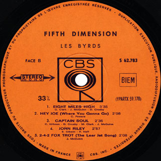byrds lp fifth dimension cbs france label 2