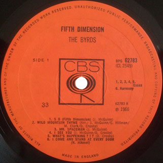byrds lp fifth dimension cbs uk label 1