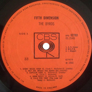 byrds lp fifth dimension cbs uk label 2