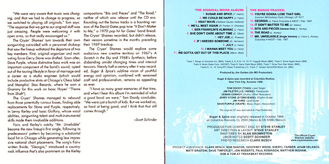 cryan' shames cd sugar and spice now sounds booklet 8