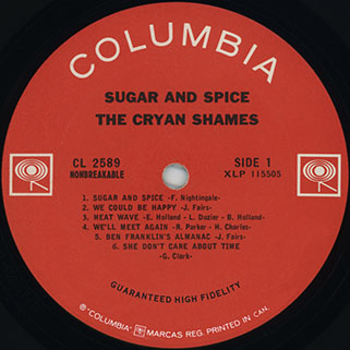 cryan' shames lp sugar and spice columbia canada mono label 1