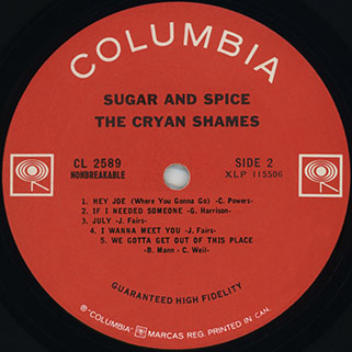 cryan' shames lp sugar and spice columbia canada mono label 2