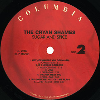 cryan' shames lp sugar and spice columbia usa 2006 mono label 2