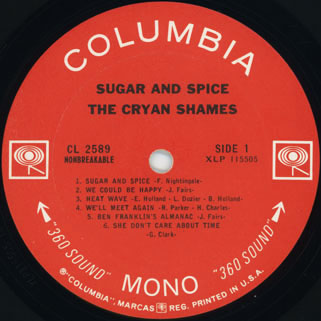 cryan' shames lp sugar and spice columbia usa mono label 1