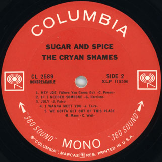 cryan' shames lp sugar and spice columbia usa mono label 2