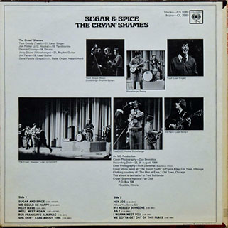 cryan' shames lp sugar and spice columbia mono promo back