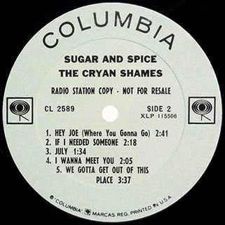 cryan' shames lp sugar and spice columbia mono promo label 2
