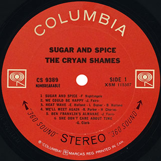 cryan' shames lp sugar and spice columbia canada stereo label 1