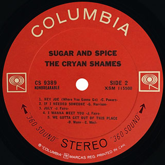 cryan' shames lp sugar and spice columbia canada stereo label 2