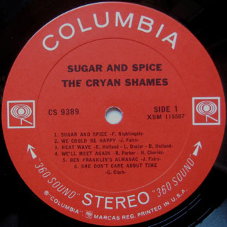 cryan' shames lp sugar and spice columbia stereo usa label 1