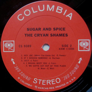 cryan' shames lp sugar and spice columbia stereo usa label 2