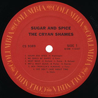 cryan' shames lp sugar and spice columbia usa stereo unknow publication label 1
