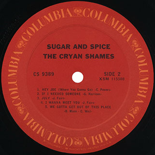 cryan' shames lp sugar and spice columbia usa stereo unknow publication label 2