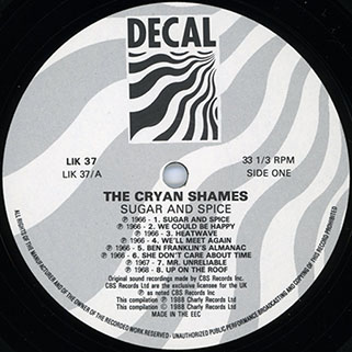 cryan' shames lp sugar and spice decal lik 37 label 1