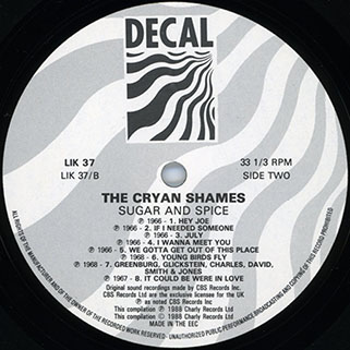 cryan' shames lp sugar and spice decal lik 37 label 2