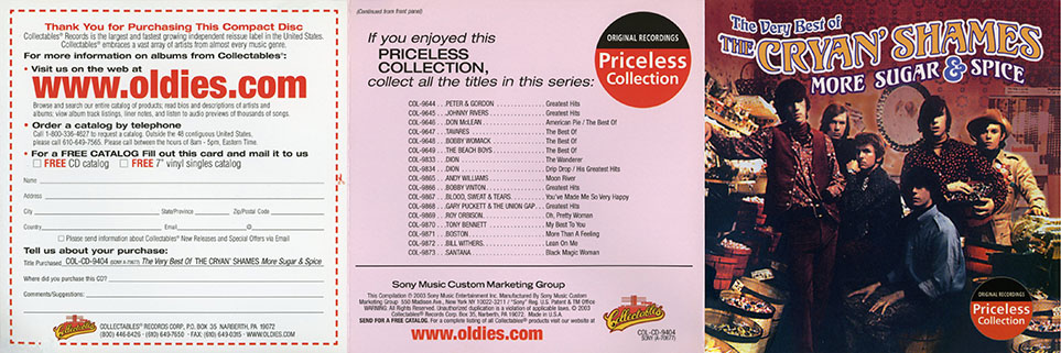 cryan' shames cd the best of more sugar and spice collectables cover out
