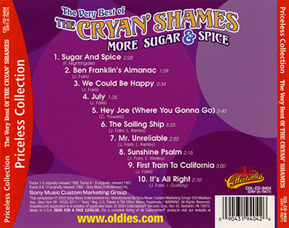 cryan' shames cd the best of more sugar and spice collectables tray out