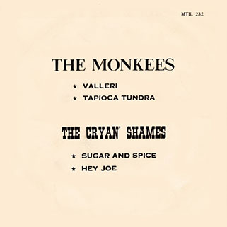 cryan's shames ep the monkees / sugar and spice mtr 232 thailand back