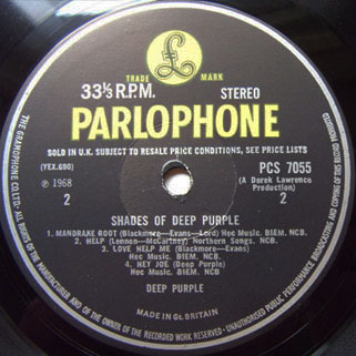 deep purple lp shades of uk label 2 first release