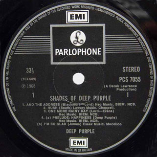 deep purple lp shades of uk label 1 second release