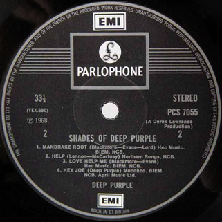 deep purple lp shades of uk label 2 second release