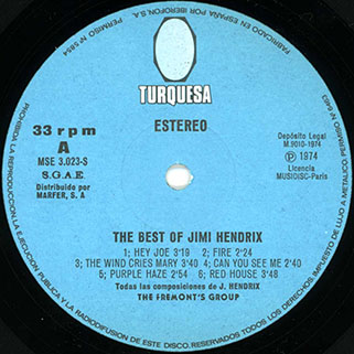 fremont's group best of jimi hendrix turquesa label 1