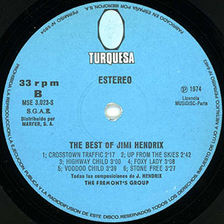 fremont's group best of jimi hendrix turquesa label 2