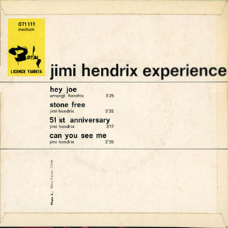 jimi ep hey joe france back cover