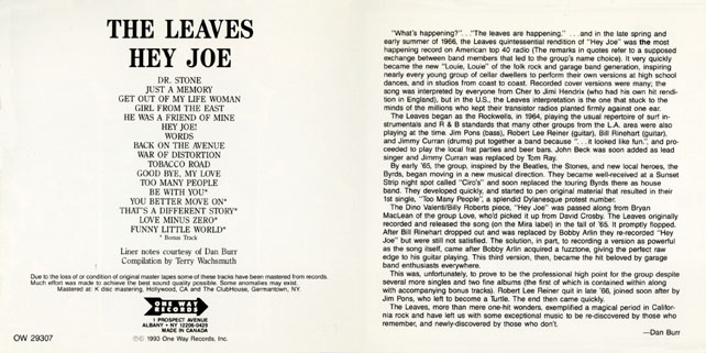 leaves cd hey joe one way cover in