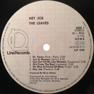 leaves lp hey joe label line label 1