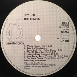 leaves lp hey joe label line label 2