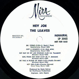 leaves lp  hey joe mira promo label 1