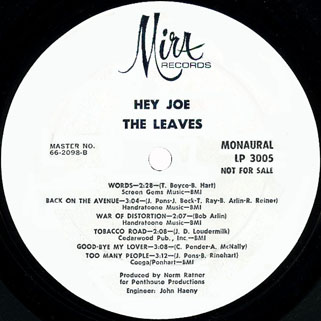 leaves lp hey joe mira promo label 2