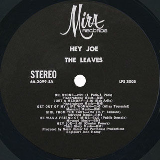 leaves lp  hey joe mira stereo label 1