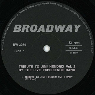 live experience band lp tribute to jimi hendrix vol 2 label 1