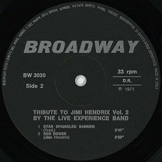 live experience band lp tribute to jimi hendrix vol 2 label 2