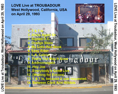 love cdr live at troubadour tray