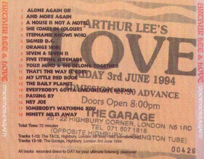 arthur lee and love cd once more again tray