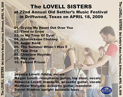 lovell sisters old settlers music festival driftwood april 18, 2009 tray