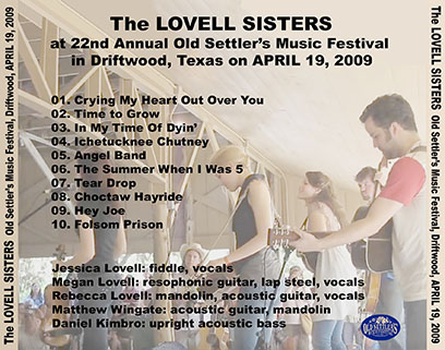 lovell sisters old settlers music festival driftwood april 19, 2009 tray